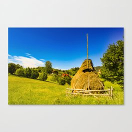 Haystack in the Carpathians of Romania Canvas Print