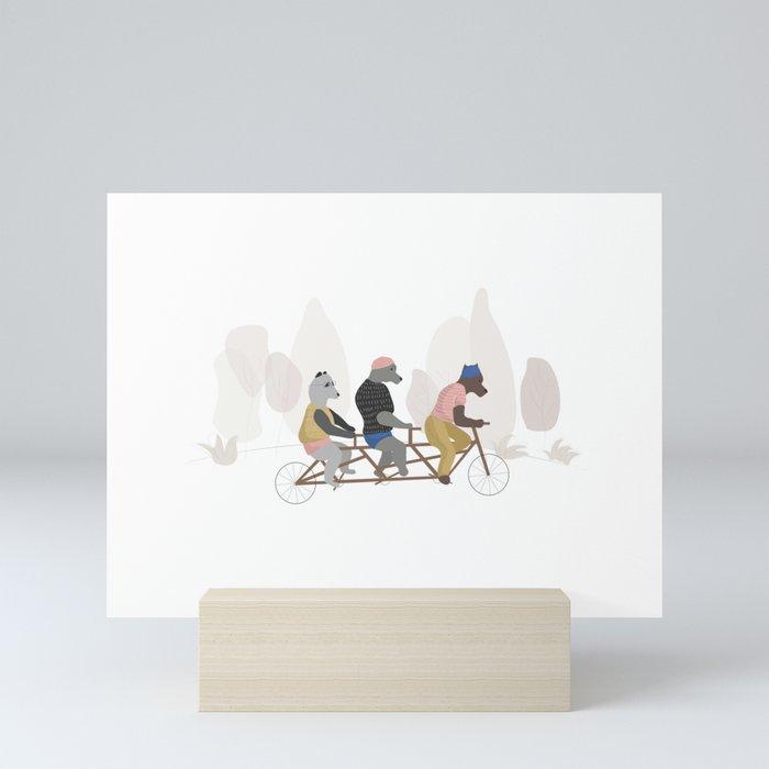 Bears in spring Mini Art Print