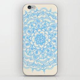 Pale Blue Pencil Pattern - hand drawn lace mandala iPhone Skin
