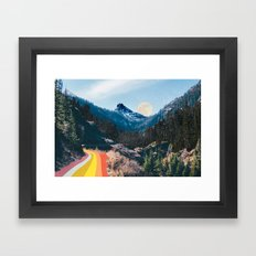 1960's Style Mountain Collage Framed Art Print