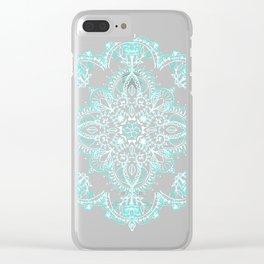 Teal and Aqua Lace Mandala on Grey Clear iPhone Case