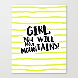 You Will Move Mountains Print Black and Yellow Stripe Inspirational Quote Art Canvas Print