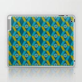 Mid Century Modern Flowers Optical Illusion Dark Teal Turquoise and Marigold Laptop & iPad Skin