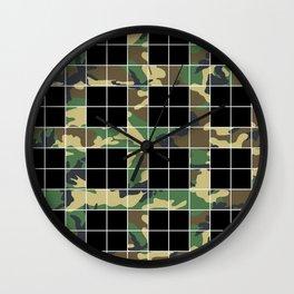 GridCamo Black Wall Clock