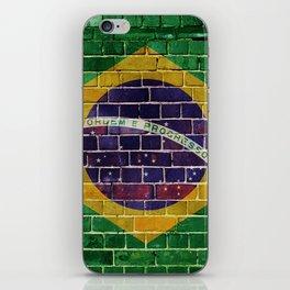Brazil flag on a brick wall iPhone Skin