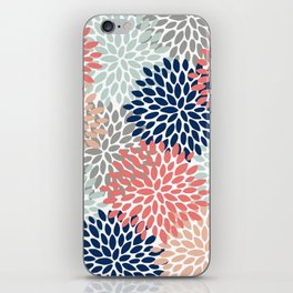 Floral Bloom Print, Coral, Pink, Pale, Aqua, Blue, Gray, Navy iPhone Skin