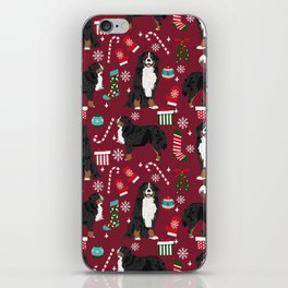 Bernese Mountain Dog christmas dog breed gifts mittens stockings presents candy canes iPhone Skin