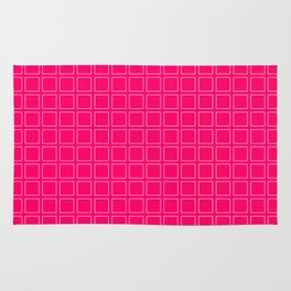 Hot Pink Neon Background with White Square Pattern Print Rug