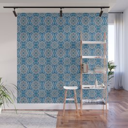 Snow flower, floral pattern, blue & gray snowflake Wall Mural