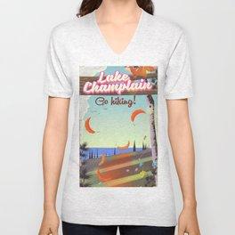Lake Champlain Travel poster Unisex V-Neck