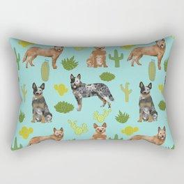 Australian Cattle Dog cactus pet friendly dog breed dog pattern art Rectangular Pillow
