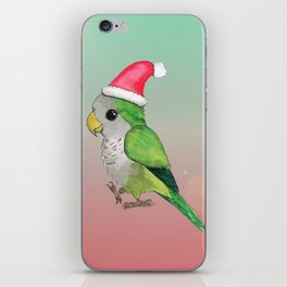 Green Christmas parrot iPhone Skin
