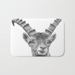 Black and white capricorn animal portrait Bath Mat