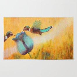 Beauty of life hummingbirds   Beauté de vie colibris Rug
