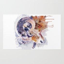 Bighorn Sheep watercolor portrait Rug