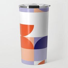 Minimal Bauhaus Semi Circle Geometric Pattern 1 - #bauhaus #minimalist Travel Mug