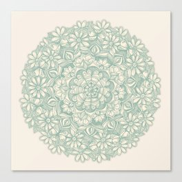Sage Medallion with Butterflies & Daisy Chains Canvas Print