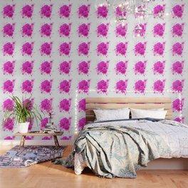 CERISE PINK ROSE PATTERN WATERCOLOR SPLATTER Wallpaper