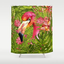 Flamingo in Jungle Shower Curtain