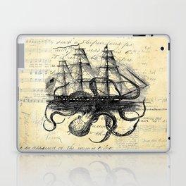 Kraken Octopus Attacking Ship Multi Collage Background Laptop & iPad Skin