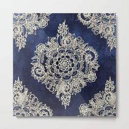 Cream Floral Moroccan Pattern on Deep Indigo Ink Metal Print