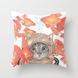 Scuba Cat Among the Fishes Throw Pillow