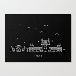 Thane Minimal Nightscape / Skyline Drawing Canvas Print