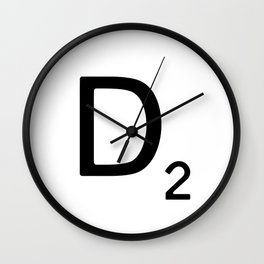 Letter D - Custom Scrabble Letter Wall Art - Scrabble D Wall Clock