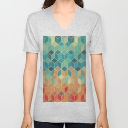 Colorful Squares with Gold - Friendly Colors and Marble Texture Unisex V-Neck