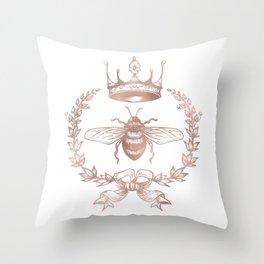 Queen Bee in Rose Gold Pink Throw Pillow