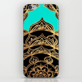 Gold Lace on Turquoise iPhone Skin