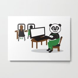 Panda Teacher Metal Print