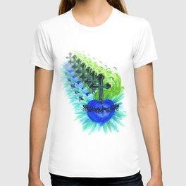 Sacred Heart, blue T-shirt