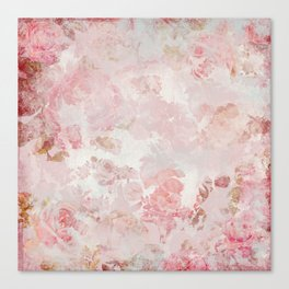 Vintage Floral Rose Roses painterly pattern in pink Canvas Print