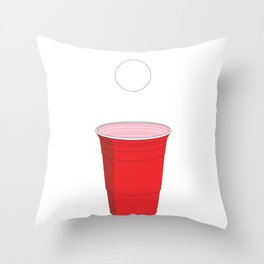 Beer Pong Illustration Throw Pillow
