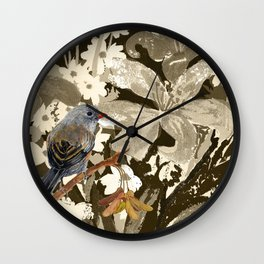 Bird Junco with Lillies Wall Clock