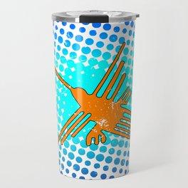 Distressed Nazca Lines Hummingbird On Gradient Blue Galaxy Travel Mug