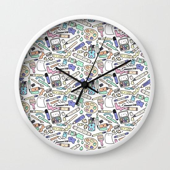 kawaii art supplies wall clock by kirakiradoodles society6