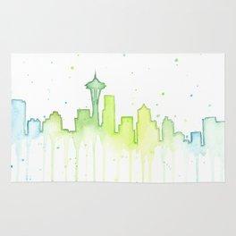 Seattle Skyline Watercolor Space Needle Painting Rug