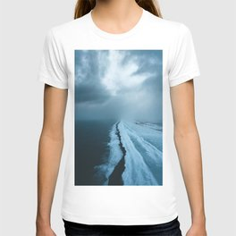 Moody Black Sand Beach in Iceland - Landscape Photography T-shirt