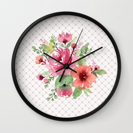 Romantic flowers with lace Wall Clock