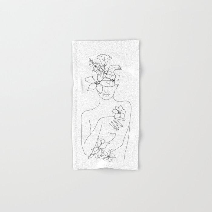 Minimal Line Art Woman with Flowers IV Hand & Bath Towel