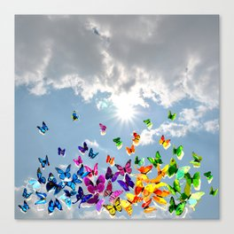 Butterflies in blue sky Canvas Print