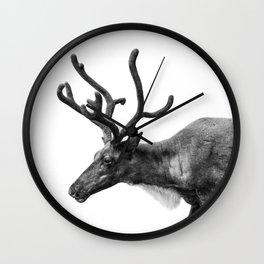 Animal Photography | Reindeer Minimalism | Antlers Christmas | Rudolf Wall Clock