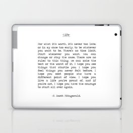 Life quote F. Scott Fitzgerald Laptop & iPad Skin