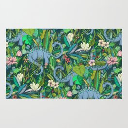 Improbable Botanical with Dinosaurs - dark green Rug