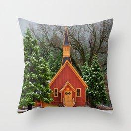Christmas At Yosemite Chapel Throw Pillow