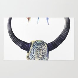 Tribal Skull and Feathers in Blues Rug