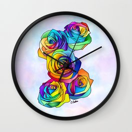 Rainbow Roses Wall Clock