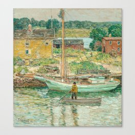 Oyster Sloop, Cos Cob 1902 by Childe Hassam Canvas Print